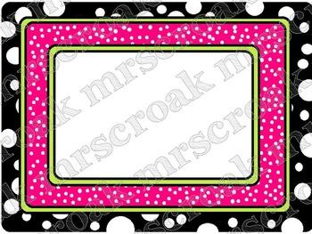 Labels: black, white & hot pink polka dots, 10 per page
