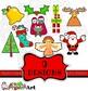 Festive Christmas Cartoon Clip Art Icons