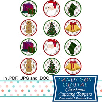 Christmas Cupcake Toppers / Stickers