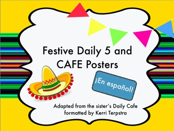 Festive Daily 5 and CAFE posters in Spanish