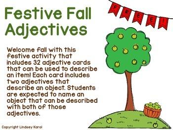Festive Fall Adjectives FREEBIE
