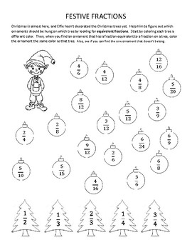 Festive Fractions - A Holiday Worksheet for Equivalent Fractions