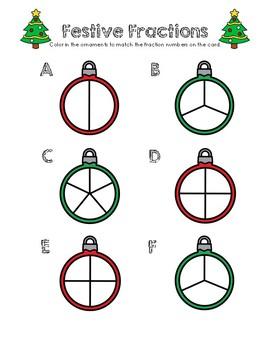 Festive Fractions - Color the fractions Worksheet