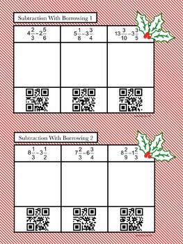Festive Fractions QR Code Task Cards