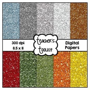 Festive Glitter Solids Digital Papers Clip Art {8.5 x 11} CU OK