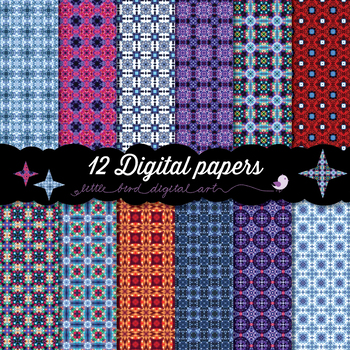 Festive Lights - 12 Digital Papers in Purple, Pink, Blue, Orange and Red