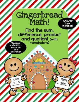 Great for Sub Holiday Gingerbread Addition, Subtraction, Multiplication Division
