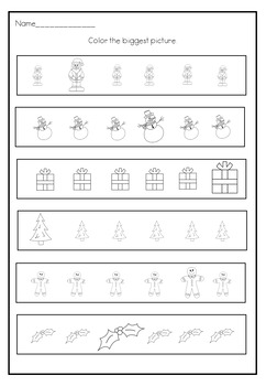 Festive Maths Big And Small Worksheets For Early Learners