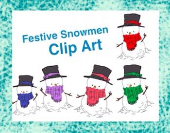 Festive Snowmen Clip Art