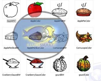 Festive Thanksgiving Clip Art-36 pc. BW & Color (Food & Decor)