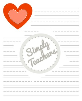 Festive Valentine Lined Writing Paper
