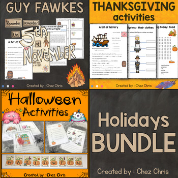 Festivities Activities -  Halloween, Guy Fawkes and Thanksgiving BUNDLE