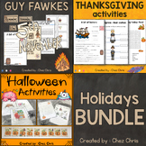Holidays Activities -  Halloween, Guy Fawkes and Thanksgiving BUNDLE