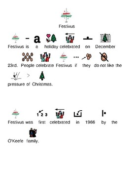 Festivus - picture supported text lesson article with visuals and questions