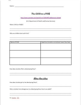 Fetal Alcohol Syndrome Video and Worksheet