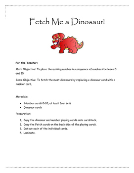 Fetch Dinosaur Missing Number Game