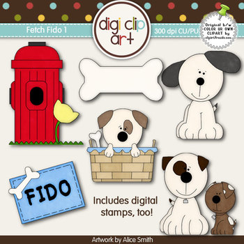 Fetch Fido 1-  Digi Clip Art/Digital Stamps - CU Clip Art