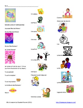 Fete des Meres! Mother's Day Vocabulary and Activities!