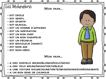 Fête des pères/Father's Day Activity for Ontario Core French/French Immersion