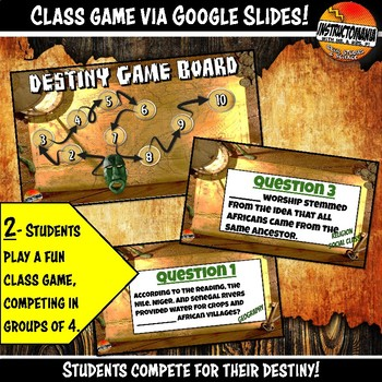 West Africa Empires What's Your Destiny Close Reading & Fun Comprehension Game