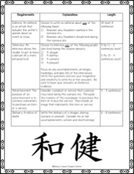 Feudal Japan Activity / Project - Create a Newspaper Project