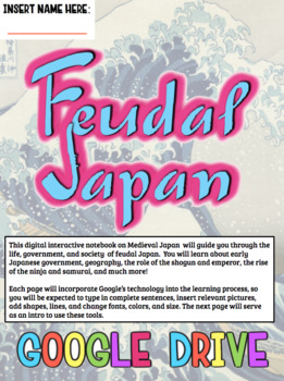 Feudal Japan DIGITAL Interactive Notebook!  Google Drive INB for Feudal Japan!
