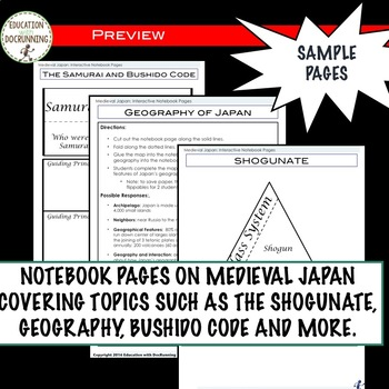 Feudal Japan Interactive Notebook Graphic organizers on Medieval Japan