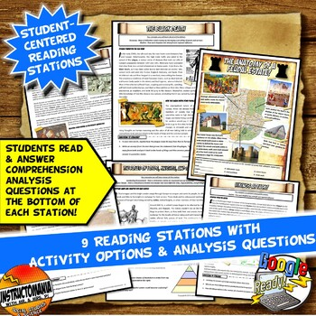 Feudal Europe Stations Activity with Key Questions Graphic Organizer Worksheets