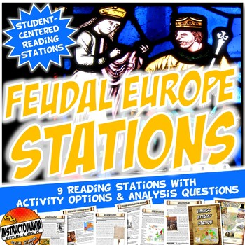 Feudal Europe Stations Activity with Key Questions Graphic