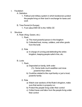Feudalism Notes and Simulation