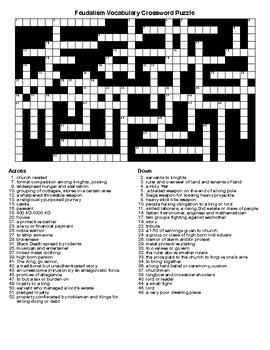 Feudalism Vocabulary Crossword Puzzle and Word Search with KEYS
