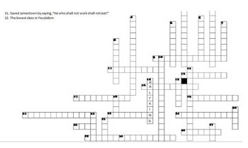 Feudalism to French & Indian War Crossword Puzzle