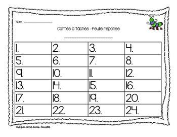 Feuille réponse pour les cartes à tâches