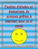 Science tests: Feuilles d'études et évaluations de sciences: Toute la 5e année!