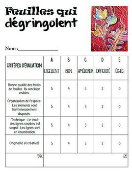 Automne: Arts plastiques: Feuilles qui dégringolent, plan de cours en français
