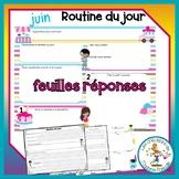 Feuilles réponses - juin - routine du jour - Distance Learning