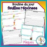 Feuilles réponses - Pâques - routine du jour - Distance Learning