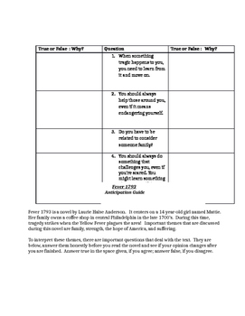 Fever 1793 Anticipation Guide / Pre-Reading Activity