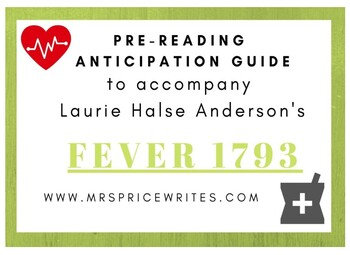 Fever 1793 - By Laurie Halse Anderson - Anticipation Guide