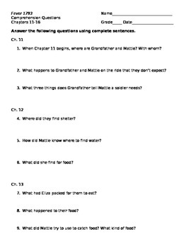 Fever 1793 Chapters 11-16 Comprehension Questions