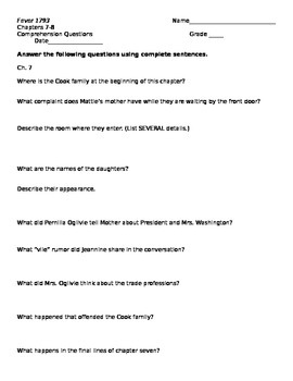 Fever 1793 Chapters 7-8 Comprehension Questions