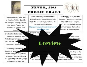 Fever 1793 Choice Board Tic Tac Toe Novel Activities Assessment Project