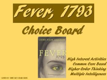 Fever 1793 Choice Board Tic Tac Toe Novel Activities Asses