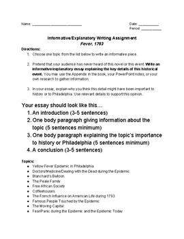 Fever, 1793- Informative/Explanatory Writing Assignment