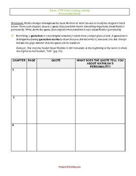 Fever 1793-Post-Reading Activity - Graphic Organizer/Log
