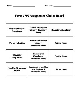 Fever 1793 Reading Project Packet