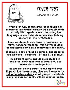 Fever 1793 Vocabulary Bingo