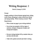 Fever 1793 Writing Response prompt and directions