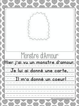 French Writing Prompts - Maternelle (février) Première Année