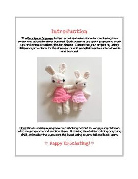 Fiber Art Craft: Bunnies in Dresses Amigurumi Crochet Animal Doll Toy Pattern